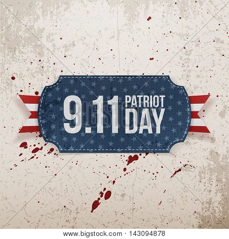 Patriot Day 9-11 realistic Tag. Vector Illustration