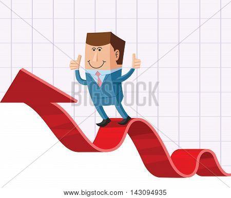 Vector smart businessman on the ascending arrow