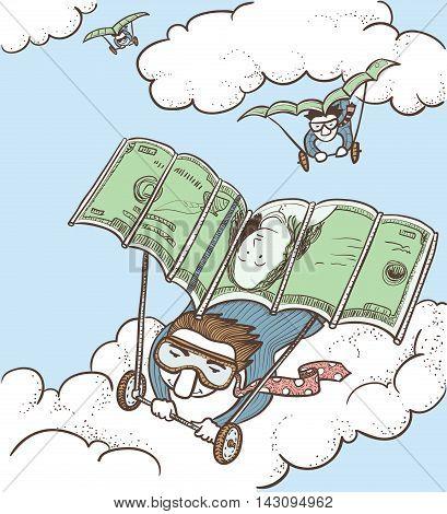Businessmen fly on deltoplane vector color version