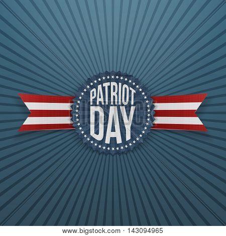 Patriot Day memorial realistic Badge. Vector Illustration