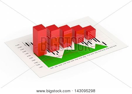 3D Rendering Of Bar Graph With Index Report Isolated Over White