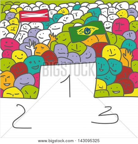 Handdrawn vector illustration of pedestal for winners and crowd soccer fans with flag naive primitive art style