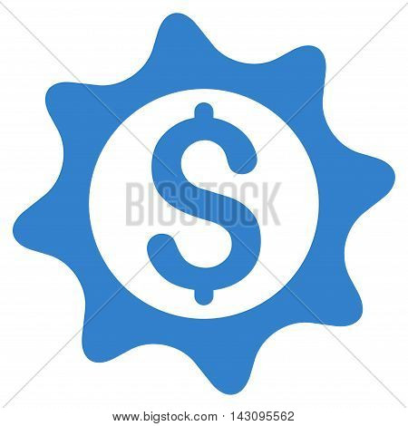 Money Seal icon. Vector style is flat iconic symbol with rounded angles, cobalt color, white background.