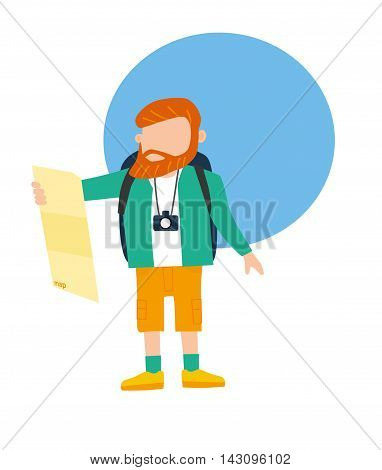 Tourist travel character with camera, tourists looking at map Vector illustration. Flat