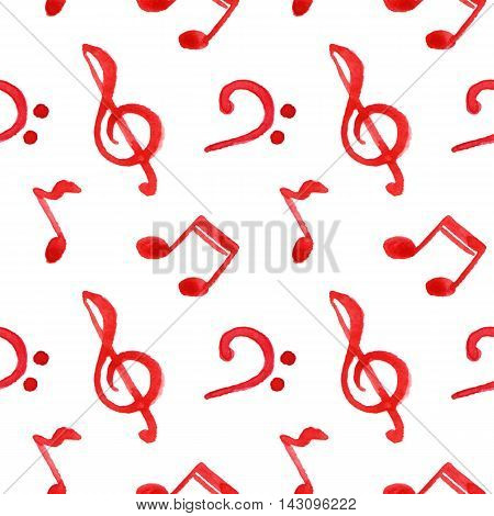 Red notes treble bass clef music seamless pattern