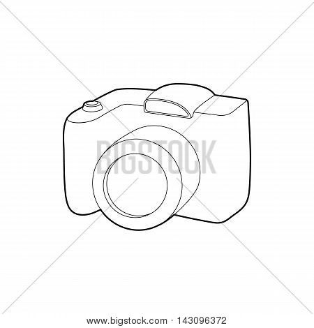 SLR camera icon in outline style isolated on white background. Photography symbol