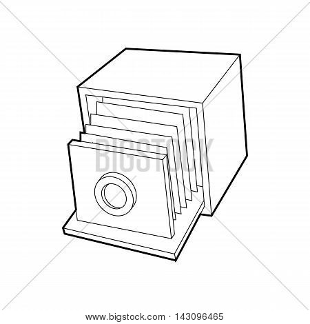 Retro camera icon in outline style isolated on white background. Photography symbol