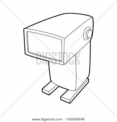 External flash camera icon in outline style isolated on white background. Photography symbol