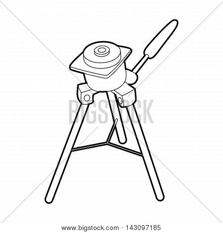 Tripod for camera icon in outline style isolated on white background. Shooting symbol