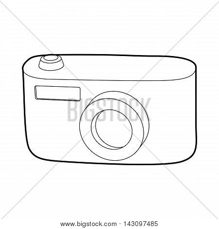 Camera icon in outline style isolated on white background. Shooting symbol