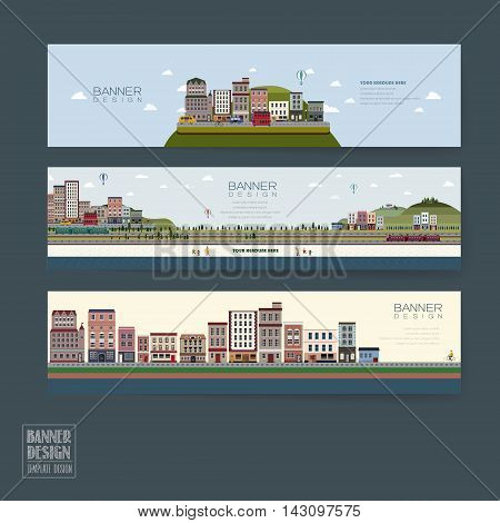 Adorable Town Scenery Banner Template