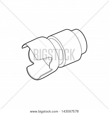 Camera lens icon in outline style isolated on white background. Photography symbol