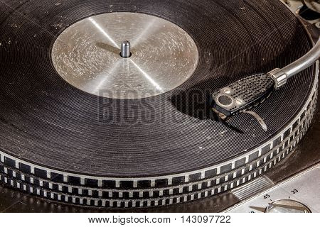 Extreme Close Up  Grungy Record Playing Turn Table