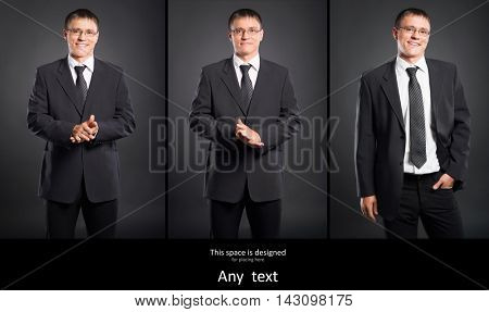 Young business man in suit over black background. Set collection.
