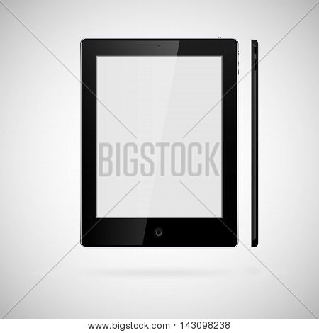 Vector blank tablet on white bakground. Front and right sides