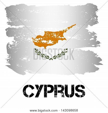 Flag of Cyprus from brush strokes in grunge style isolated on white background. Country on borders of Europe and Asia. Vector illustration