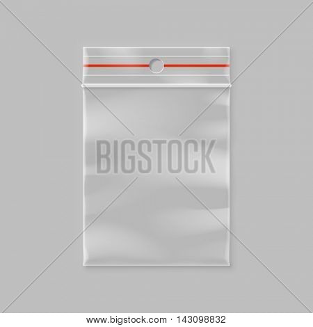 Vector empty transparent zipper bag illustration