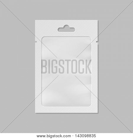 Vector white pocket bag with transparent window and hang slot illustration