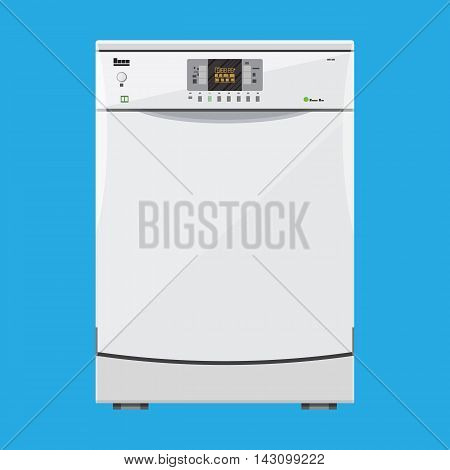 white modern closed kitchen dishwasher. vector illustration in flat style on blue background