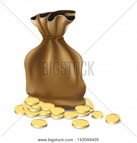 Money bag icon design bag with pile of golden coins.