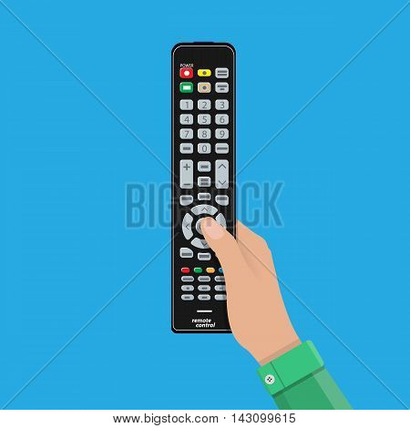 Human hand with black modern remote TV Control. Vector illustration in flat style on blue background