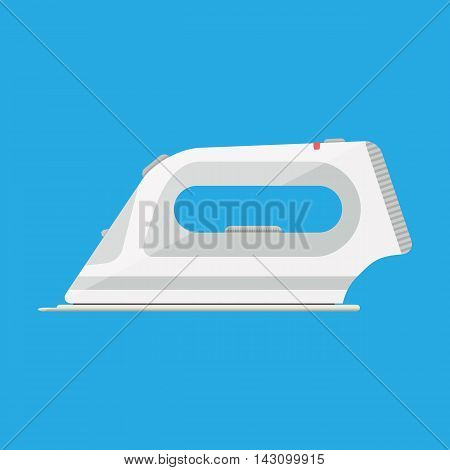 White modern clothing iron. vector illustration in flat style on blue background