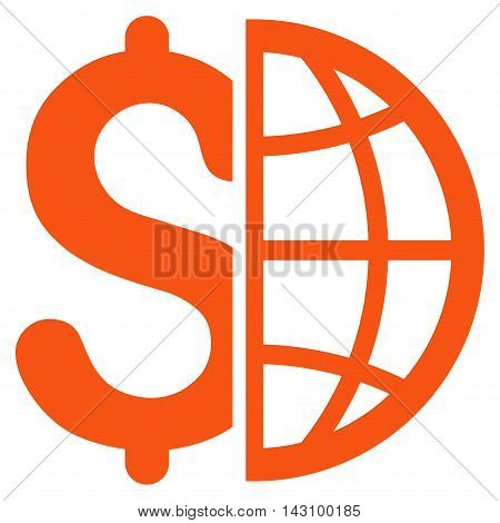 Global Business icon. Vector style is flat iconic symbol with rounded angles, orange color, white background.