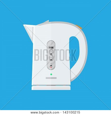 White electric teapot on a blue background. modern kettle. vector illustration in flat style