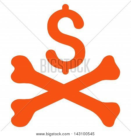 Mortal Debt icon. Vector style is flat iconic symbol with rounded angles, orange color, white background.