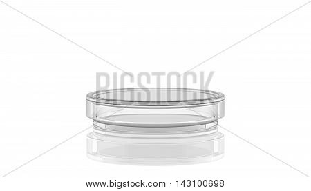 3D render illustration.Petri dish with reflection laboratory glass on white background