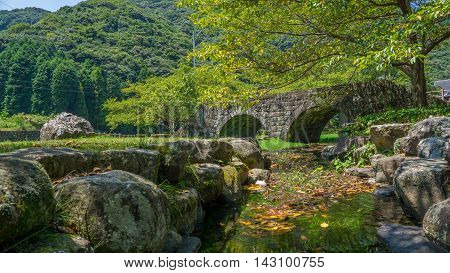 Small stone bridge in Hasami, Nagasaki, Japan.
