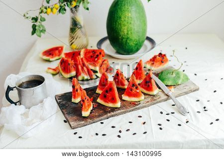 White Cantaloupe And Watermelon Sliced On The Table. Eating Appe