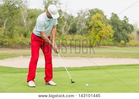 Golfer putting on green, toned image, horizontal image,