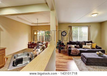 Open Floor Plan. Living Room Connected To Kitchen Area.
