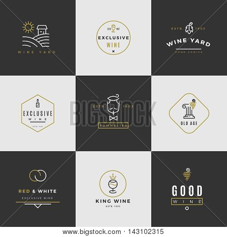 Wine card vector logo set. Alcohol menu emblems with bottles and glasses