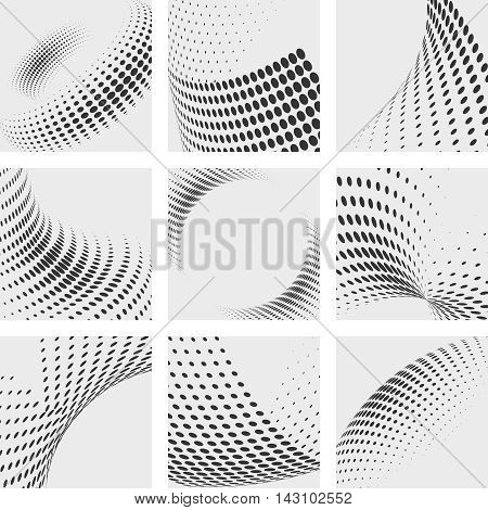 Halftone dots effects vector backgrounds set. Vector Dot texture pattern