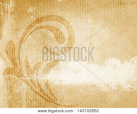 Grunge paper background with halftone patternsfloral swirl and space for the text. Vintage paper texture for the design.