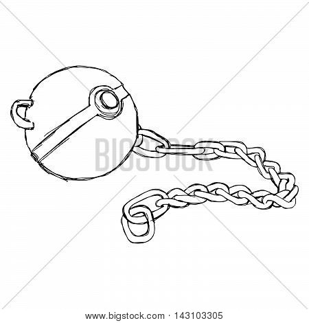 illustration vector doodle hand drawn sketch of Iron chain ball with shackle isolated on white background.