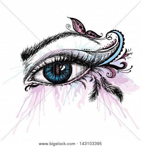Eye hand drawn with doodle make up vector illustration