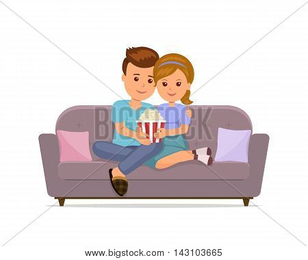 Couple sitting on sofa cuddling, eating popcorn and watching TV. Man and woman together relaxing on the comfortable sofa in the evening. Isolated vector illustration.