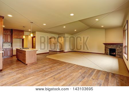 Open Floor Plan. Empty Living Room With Carpet Floor.