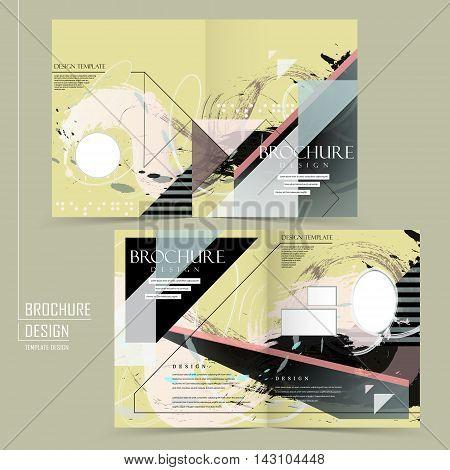 Abstract Half-fold Brochure Template Design