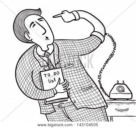 Businessman with old telephone (want to do well do it yourself)