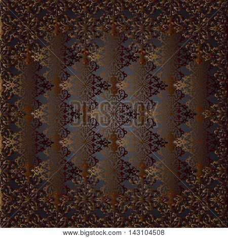 Damask baroque stylish vector seamless pattern background with vintage oriental ornaments in Eastern style. Dark luxury  illustration and 3d decor elements with shadow and highlights. Endless elegant  texture.