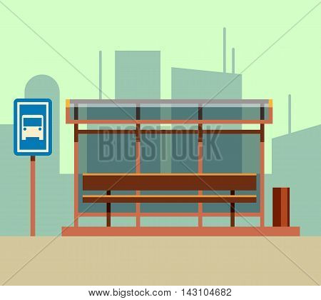 Bus stop in city landscape. Public station transport in flat style. Vector illustration