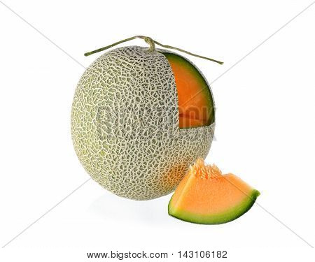 cantaloupe with stem on a white background