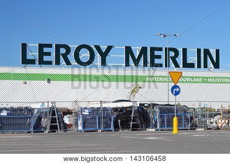 CIRCA AUGUST 2016 - GDANSK:  logo of Leroy Merlin. Leroy Merlin is a French home-improvement and gardening retailer. It was founded in 1923 by Adolphe Leroy and Rose Merlin.