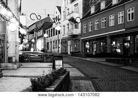 Evening in Sonderborg, Southern Denmark. Black and White