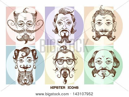 Vector cartoon image icons set of the human head on the hipster fashion painted by hand. Styling and creative style exaggeration