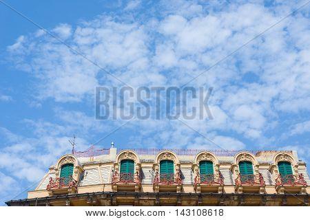 Windows Of A Attics Roof In A European Classic Building.